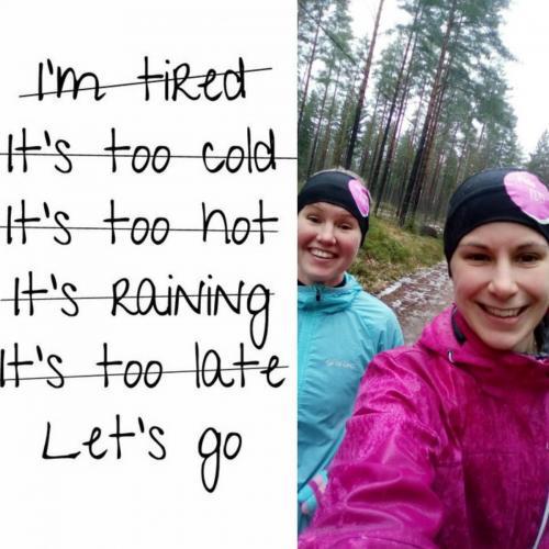 Asenne ratkaisee monessa. Räntäsateessakin juoksu maittaa kun vaan lähtee liikkeelle.
